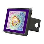 Rainbow Heart Cancer Rectangular Hitch Cover