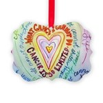 Rainbow Heart Cancer Picture Ornament