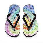 Rainbow Heart Cancer Flip Flops