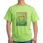 Rainbow Heart Cancer Green T-Shirt