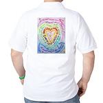 Rainbow Heart Cancer Golf Shirt