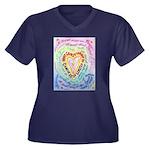 Rainbow Hear Women's Plus Size V-Neck Dark T-Shirt