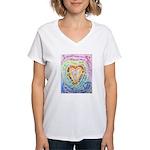 Rainbow Heart Cancer Women's V-Neck T-Shirt