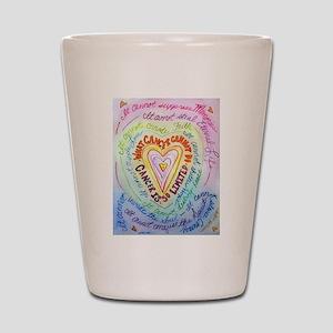 Rainbow Heart Cancer Shot Glass