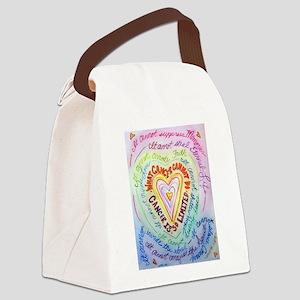 Rainbow Heart Cancer Canvas Lunch Bag