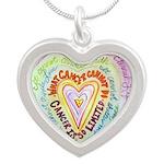 Rainbow Heart Cancer Silver Heart Necklace