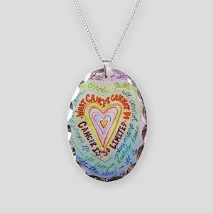 Rainbow Heart Cancer Necklace Oval Charm