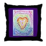 Rainbow Heart Cancer Throw Pillow