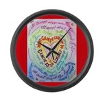 Rainbow Heart Cancer Large Wall Clock