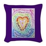 Rainbow Heart Cancer Woven Throw Pillow