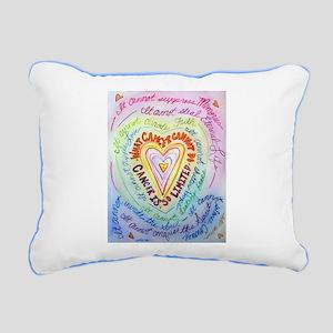 Rainbow Heart Cancer Rectangular Canvas Pillow