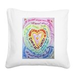 Rainbow Heart Cancer Square Canvas Pillow