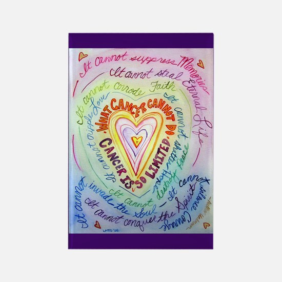 Rainbow Heart Cancer Rectangle Magnet