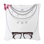 Nerdy Necklaces Woven Throw Pillow