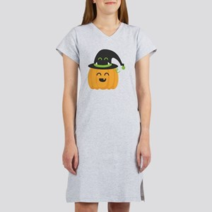 Cute and Happy Pumpkin with Mon Women's Nightshirt
