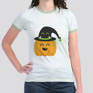 Cute and Happy Pumpkin with Mon Jr. Ringer T-Shirt