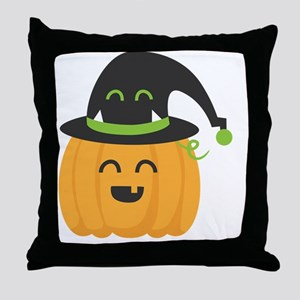 Cute and Happy Pumpkin with Monster H Throw Pillow