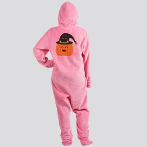 Cute and Happy Pumpkin with Monster Footed Pajamas