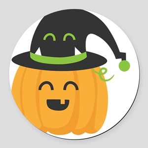 Cute and Happy Pumpkin with Monst Round Car Magnet