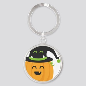 Cute and Happy Pumpkin with Monster Round Keychain