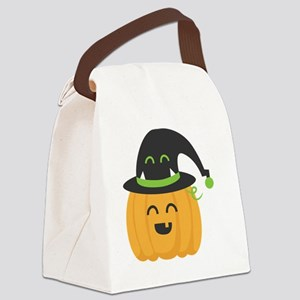 Cute and Happy Pumpkin with Monst Canvas Lunch Bag
