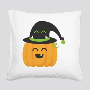 Cute and Happy Pumpkin with M Square Canvas Pillow