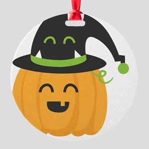 Cute and Happy Pumpkin with Monster Round Ornament