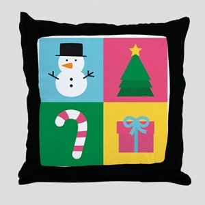 Colourful Christmas with Snowman, Tre Throw Pillow