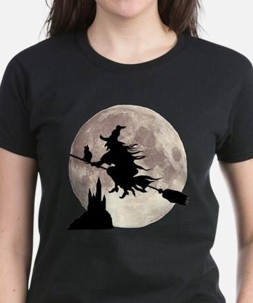 Flying Witch Moon Women's Dark T-Shirt