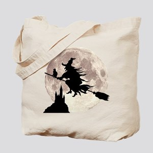 Flying Witch Moon Tote Bag