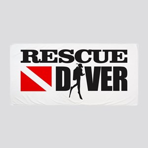 Rescue Diver 3 (blk) Beach Towel