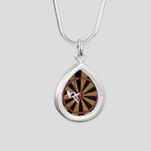 Vintage Darts Silver Teardrop Necklace