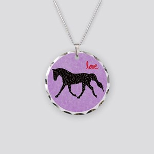 Horse Love and Hearts Necklace Circle Charm