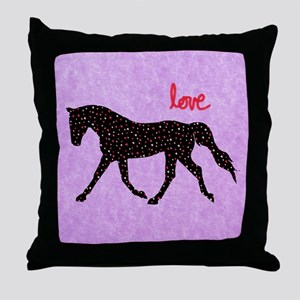 Horse Love and Hearts Throw Pillow