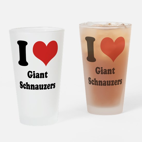 I Heart Giant Schnauzers Drinking Glass