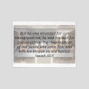 Isaiah 53:5 5'x7'Area Rug