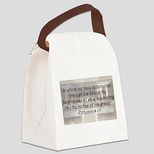 Ephesians 1:7 Canvas Lunch Bag