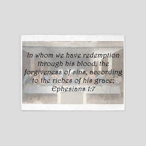Ephesians 1:7 5'x7'Area Rug
