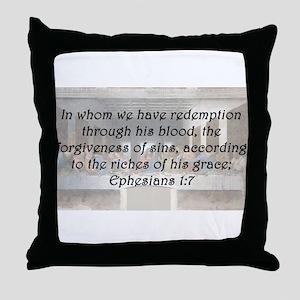 Ephesians 1:7 Throw Pillow
