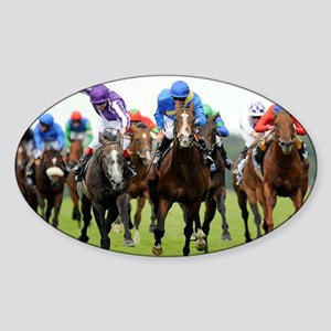 Front View of Horse Racing Sticker (Oval)