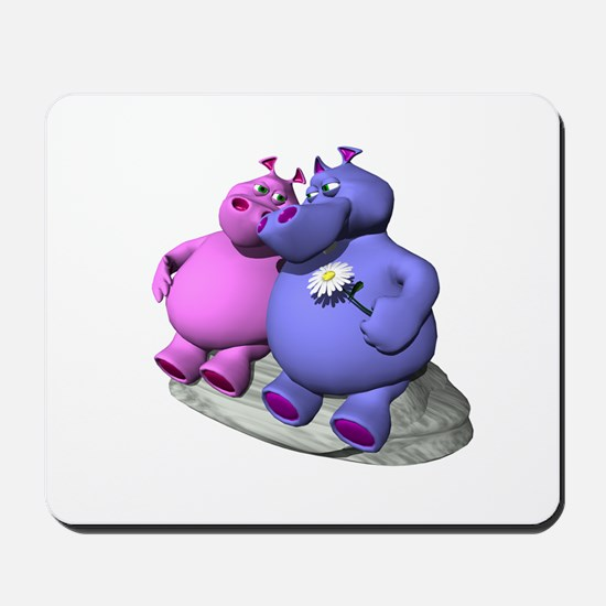 Hippos in Love Mousepad