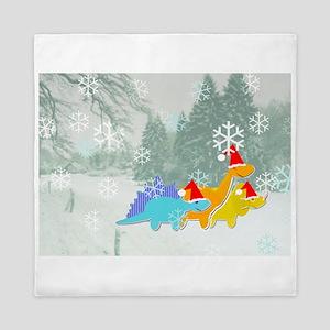 Cute Cartoon Dinosaurs Christmas Queen Duvet