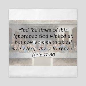 Acts 17:30 Queen Duvet