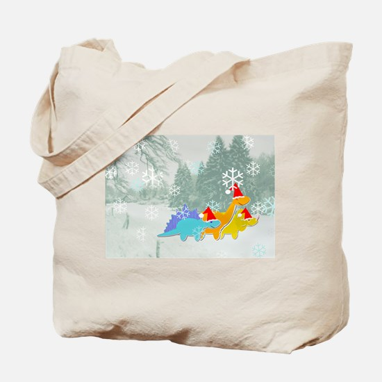 Cute Cartoon Dinosaurs Christmas Tote Bag