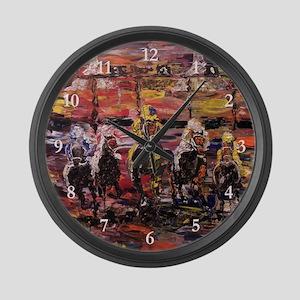 Modern Horse Race Large Wall Clock