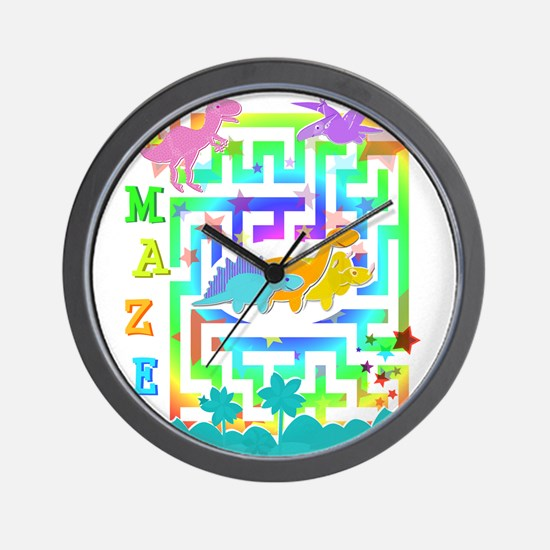 Cartoon Dinosaurs in a Maze Wall Clock