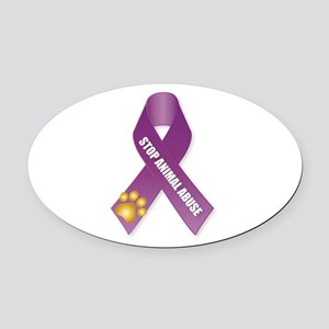 Stop Animal Abuse Ribbon Oval Car Magnet