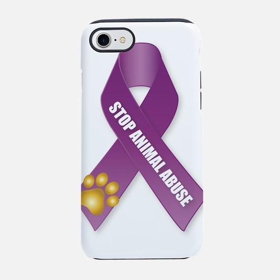Stop Animal Abuse Ribbon iPhone 7 Tough Case