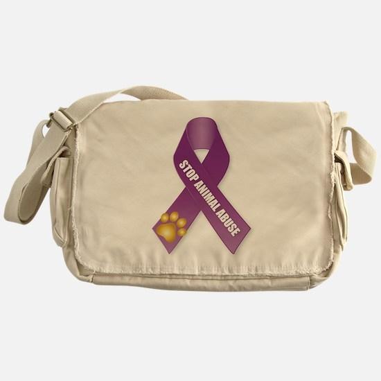 Stop Animal Abuse Ribbon Messenger Bag