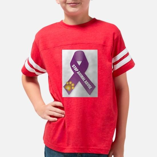 Stop Animal Abuse Ribbon Youth Football Shirt
